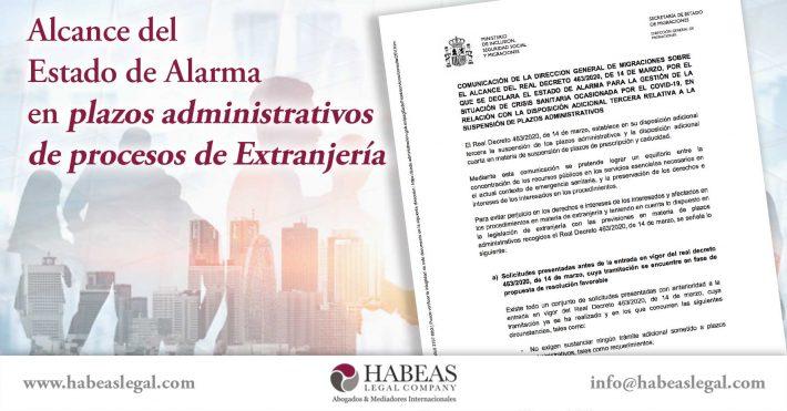 Alcance del Estado de Alarma en plazos administrativos de procesos de Extranjería