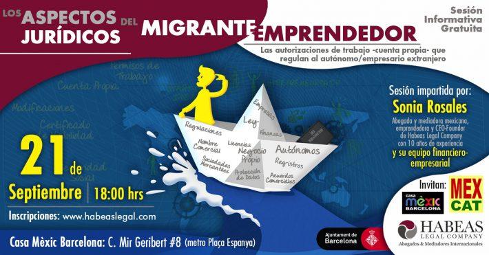 """""""Los aspectos jurídicos del migrante emprendedor"""": sesión informativa gratuita -Septiembre-"""