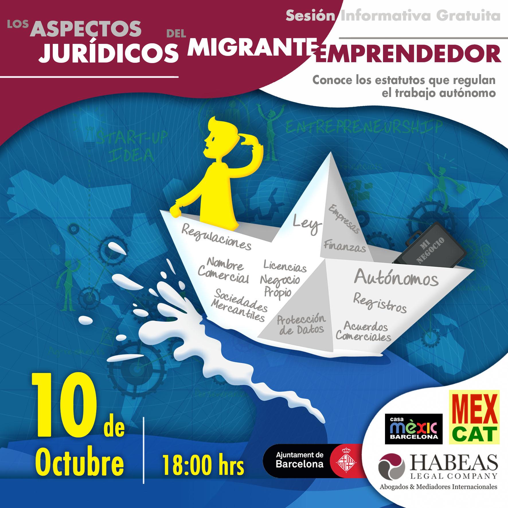 """Aspectos Jurídicos Emprendedor EVENTO calendar OCT - """"Los aspectos jurídicos del Migrante Emprendedor"""" - sesión Octubre 2019"""