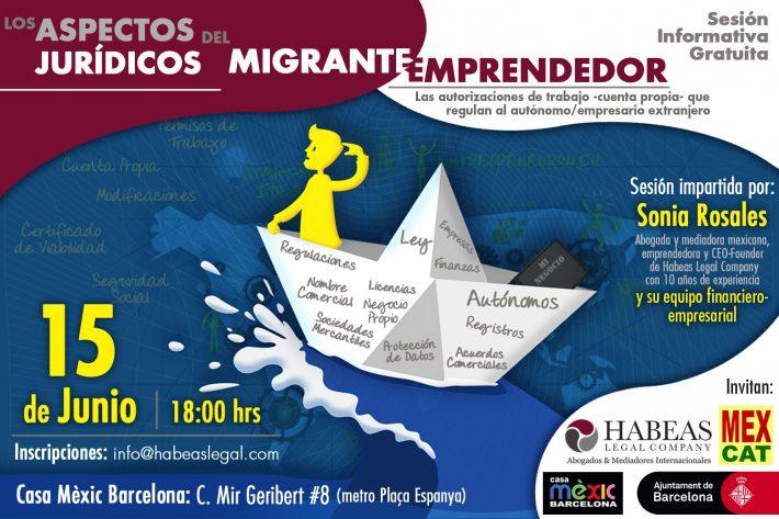 """""""Los aspectos jurídicos del migrante emprendedor"""": sesión informativa gratuita -Junio-"""