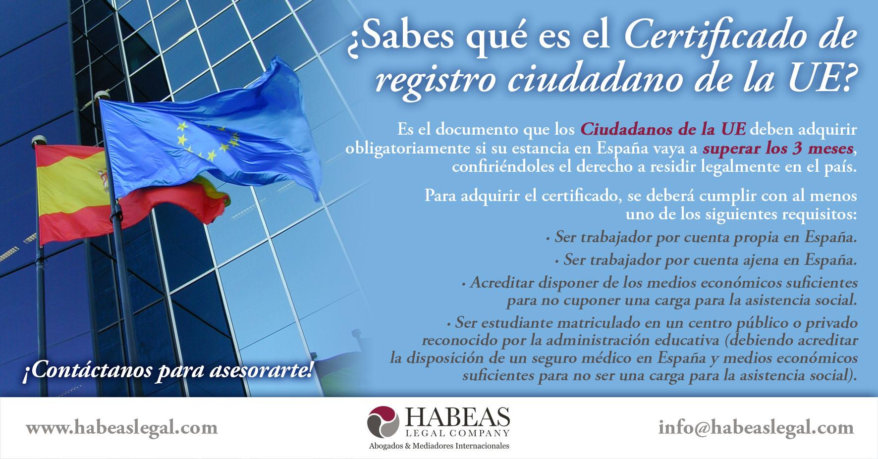 certificado de registro ciudadano UE