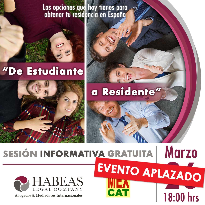 """De Estudiante a Residente 2020 MAR calendar delay - """"De Estudiante a Residente"""" - sesión Marzo 2020 →APLAZADO"""