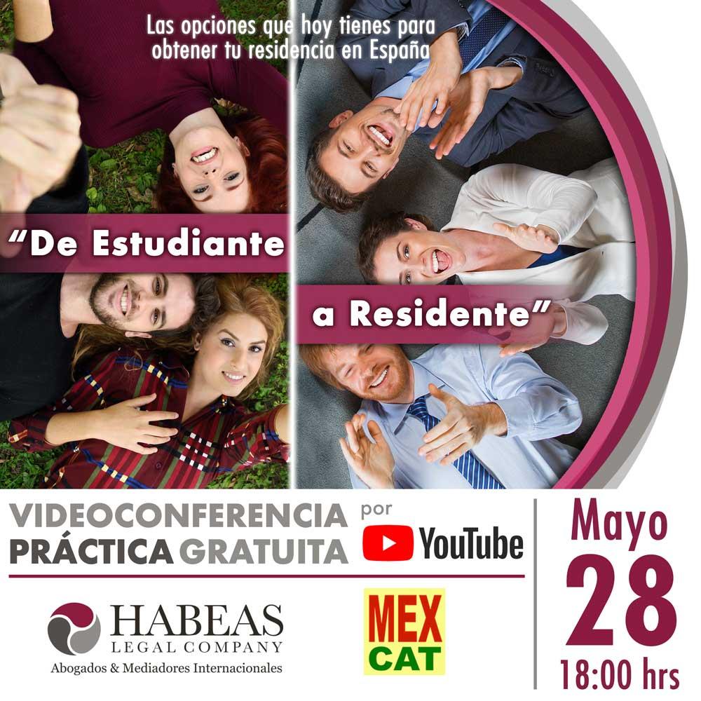 Sesión informativa en videoconferencia impartida por Habeas Legal para estudiantes extranjeros y sus opciones de trabajo y residencia en España