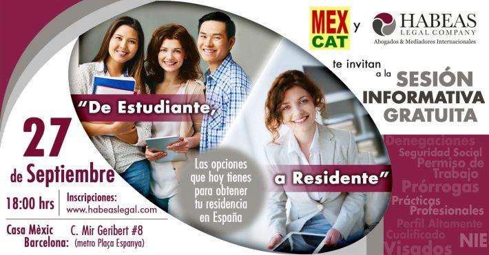 """""""De Estudiante a Residente"""": las opciones que tienen los estudiantes y profesionales extranjeros en España; sesión de Septiembre 2018"""