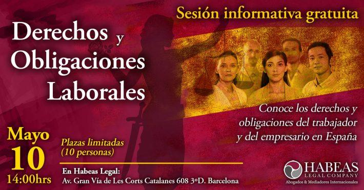 """""""Derechos y Obligaciones Laborales"""" – sesión informativa grupal gratuita – Mayo"""