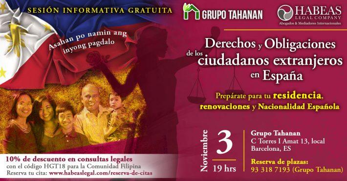 """""""Los Derechos y Obligaciones de los ciudadanos extranjeros en España"""" – sesión informativa gratuita"""