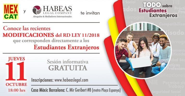 """""""Los Estudiantes Extranjeros y las Modificaciones del RD LEY 11/2018""""; sesión informativa gratuita"""