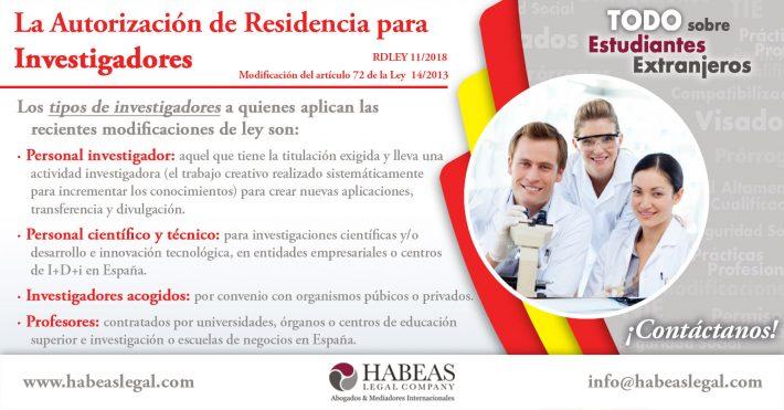La residencia para investigadores – Modificación de Ley para Estudiantes Extranjeros (RDLEY 11/2018)