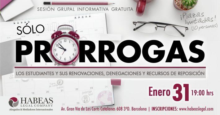 «Sólo Prórrogas» – sesión informativa gratuita – Enero 2019