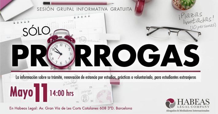 «Sólo Prórrogas» – sesión informativa grupal gratuita – 11 Mayo
