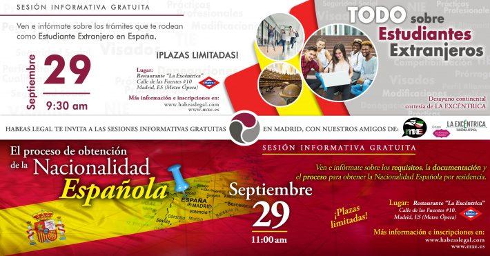 Atención MADRID: sesiones informativas gratuitas -sobre Estudiantes Extranjeros y Nacionalidad-