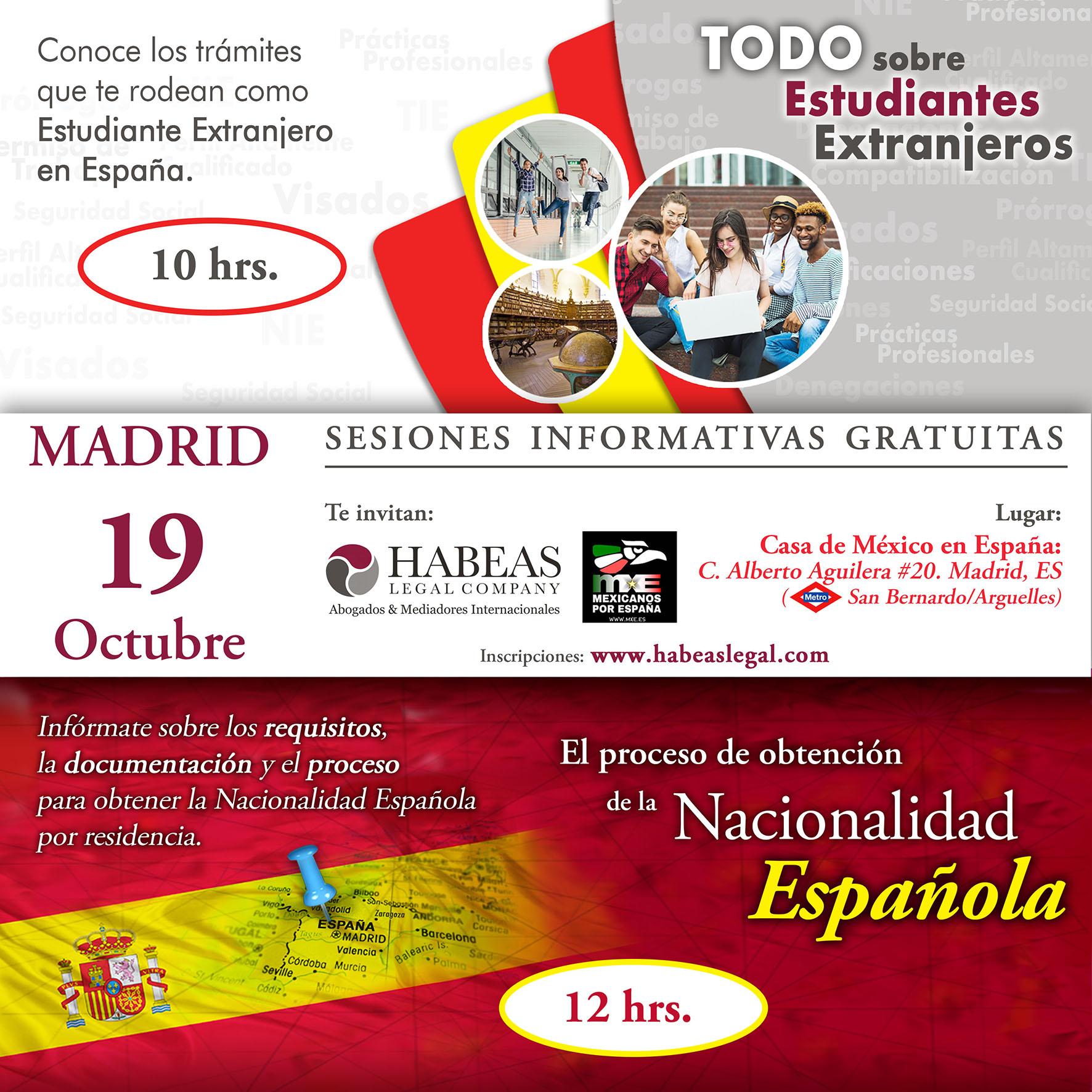 sesion Madrid Estudiantes y Nacionalidad calendar Oct 2019 - Atención MADRID: sesiones informativas gratuitas -sobre Estudiantes Extranjeros y Nacionalidad-